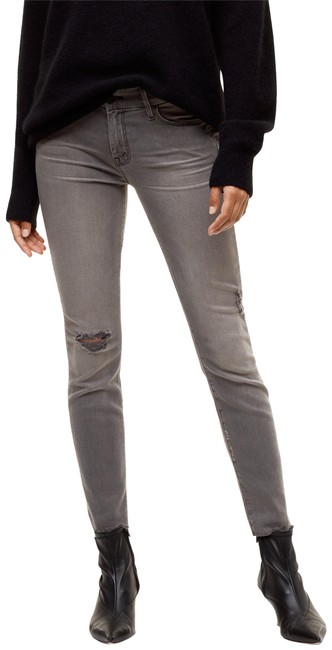 Item - Grey Distressed The Looker Ripped In Last Chance Saloon Skinny Jeans Size 27 (4, S)