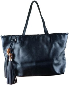 Gucci Brown Leather Tote in black