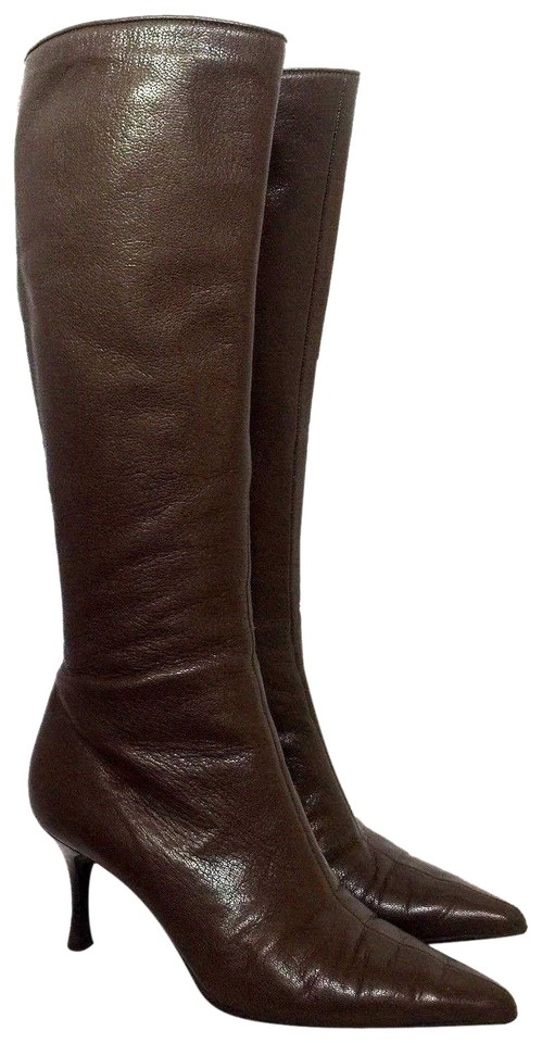 56c9d35762d Gucci Brown Tall Leather Pointed Toe 2.5