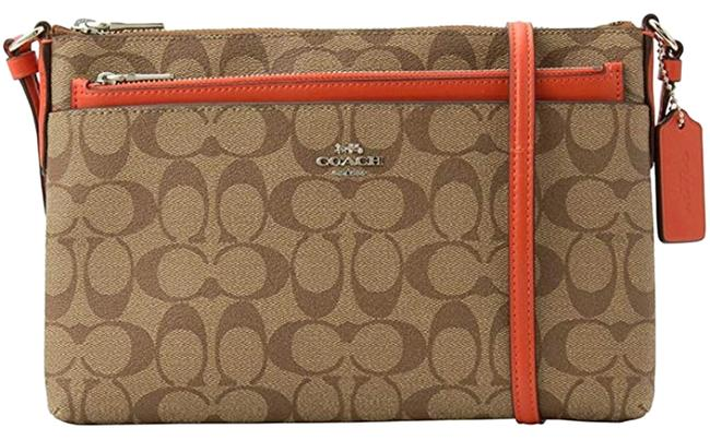Item - East/West with Pop-up Pouch Khaki Orange Red Leather Cross Body Bag