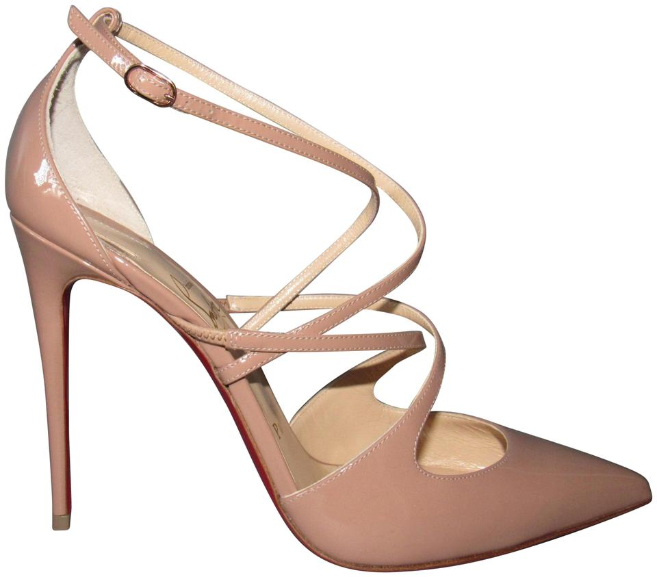 reputable site 022ea 4f8c2 Christian Louboutin Beige Nude Crossfliketa 100 Patent Leather Criss Cross  Pumps Size EU 39.5 (Approx. US 9.5) Regular (M, B) 33% off retail