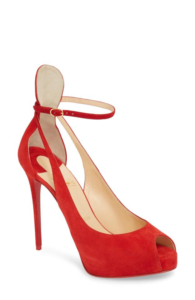 3087ce4331cf Christian Louboutin Red Mascaralta 120 Suede Peep Toe Pumps Heels Sandals  Platforms. Size  EU 39 ...