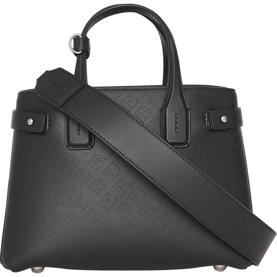 7a946404aea3 Burberry Small Banner Black Perforated Leather Tote - Tradesy