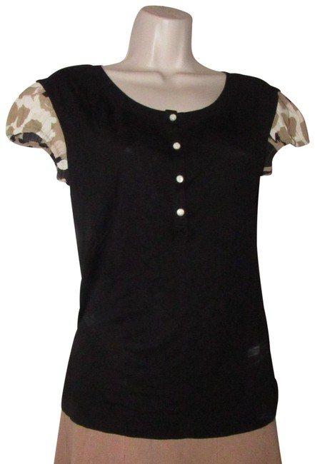 Item - Tops/Designer Clothes Black with Red Brown White Black Abstract Floral Print Sleeves Top