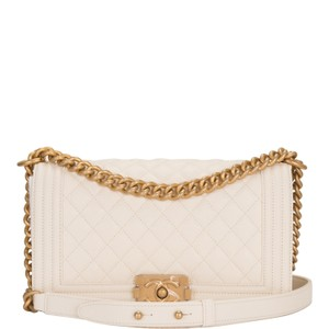 0f0a6bb5fd12 Added to Shopping Bag. Chanel Shoulder Bag. Chanel Boy Quilted Caviar Medium  White Leather ...