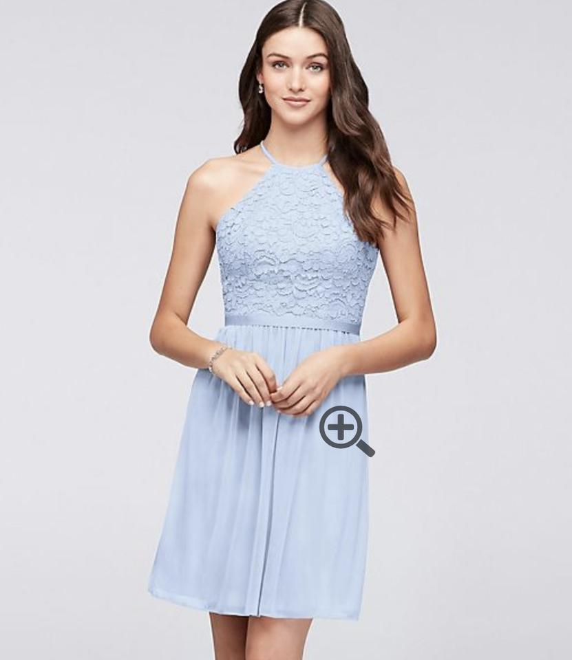 ad6cb13ac27 David s Bridal Ice Blue Lace and Mesh Chiffon Open-back Short - F19752  Feminine Bridesmaid Mob Dress