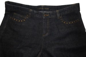 Michael Kors Nwot/Unworn Size 12 Studded Accents Looser Boyfriend Cut Relaxed Pants dark rinse denim