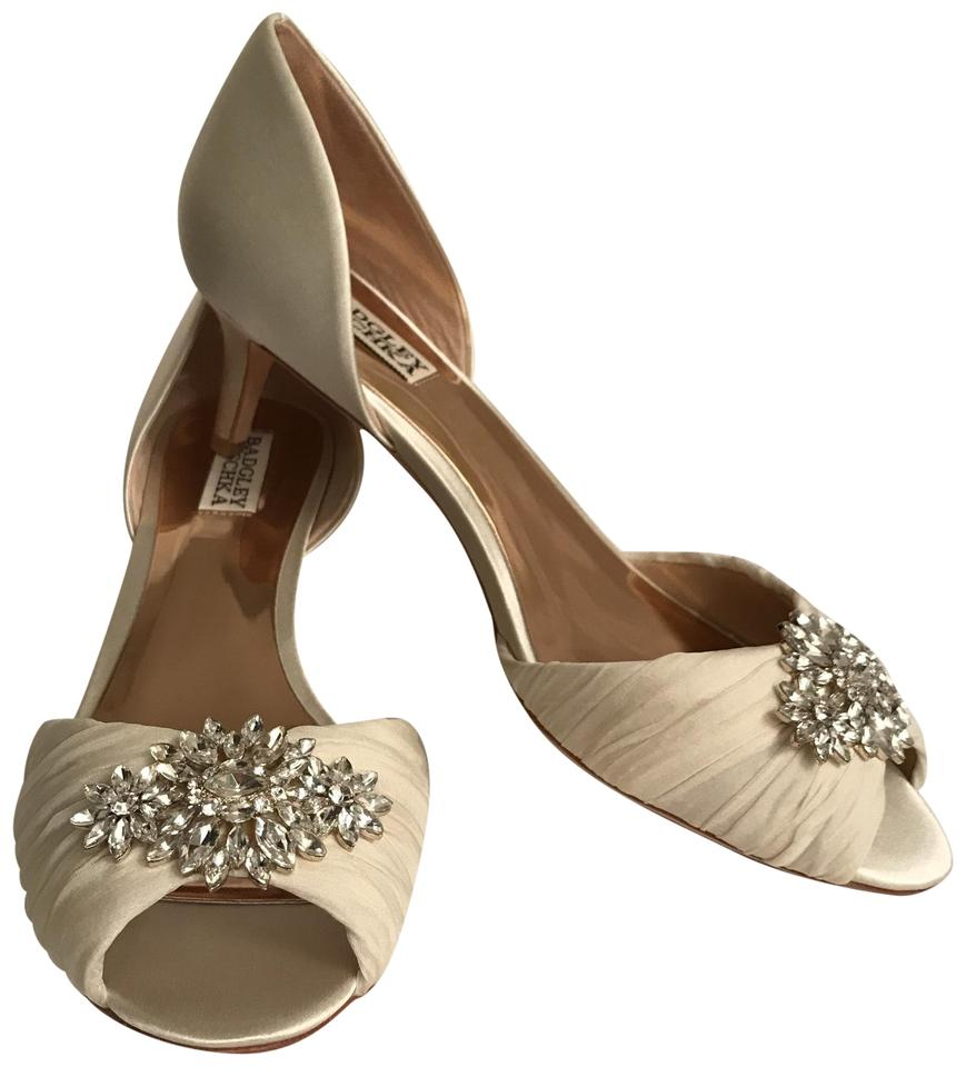 ee24484293b Badgley Mischka White Ivory New Caitlin Peep Toe Satin D orsay Crystals  Formal Shoes