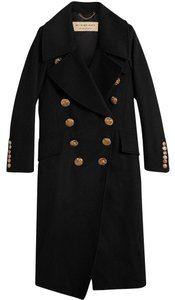 Burberry London Women Gold Hardware Birds Double Breasted Chain Trench Coat