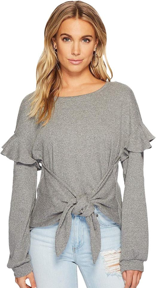 0dca4416b757ba STATE Gray W Womens Long Sleeve Tie Front Knit W/Ruffle Sleeves M Blouse