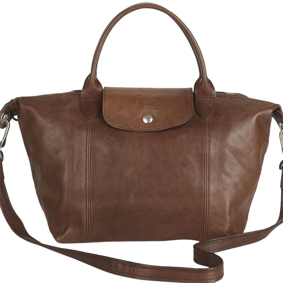 280af0bafb47 Longchamp Le Pliage Brown Leather Tote - Tradesy