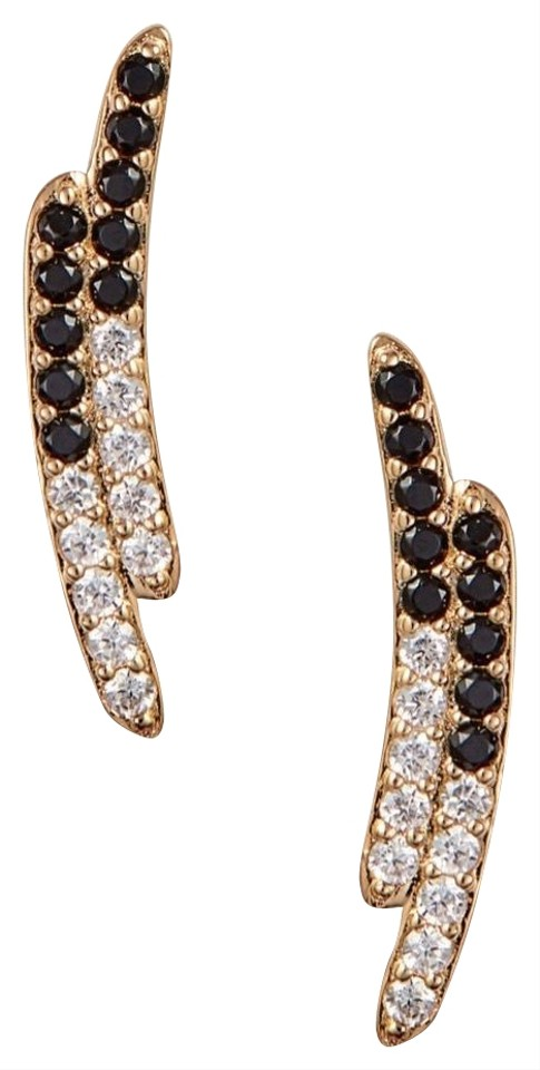 82acfbee6 Nadri Gold Black Clear White Crystal Stud Earrings - Tradesy
