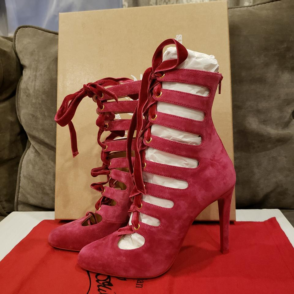 09ad3986c375 Christian Louboutin Sandals Lace Up Suede Cutout Pink Pumps Image 11.  123456789101112