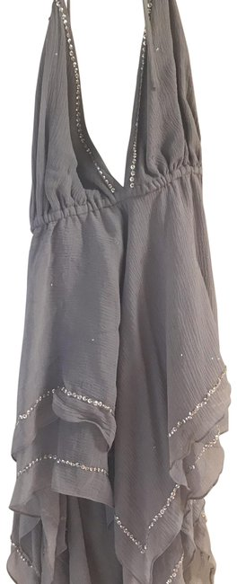 Item - Rn110730 Grey with Silver Sequins Top