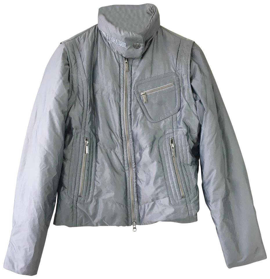 9de7a1df95 Harley Davidson Gray Convertible Puffer Jacket Vest Jacket. Size  4 (S) ...