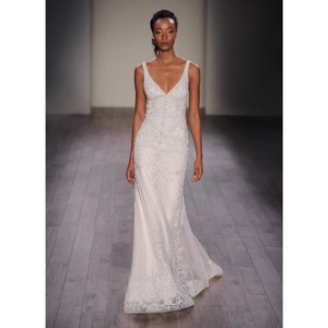 Lazaro Champagne/ Ivory Embellished Trumpet Gown Modern Wedding Dress Size 10 (M)