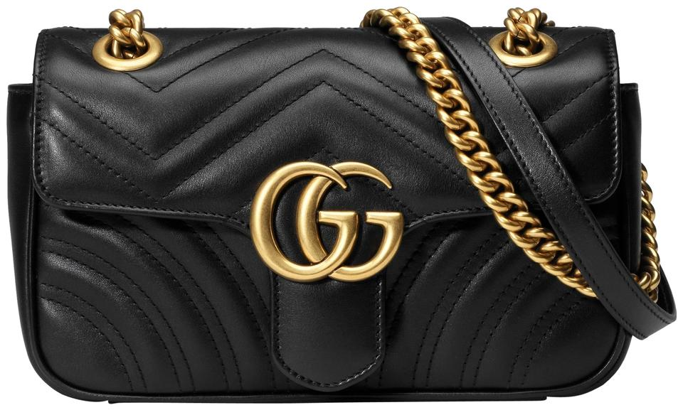 5d823ddc554d Gucci Marmont New Mini Matelasse Black Leather Shoulder Bag - Tradesy