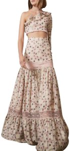 Alexis Lace Elegant Maxi Skirt Pink and Green and Floral print