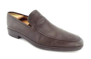 Bally Brown Leather Logo Slip-on Loafers Shoes