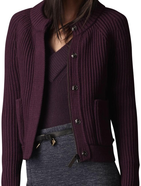Item - Deep Purple Aubergine Womens Chunky Knit Merino Wool Bomber Sweater Large Jacket Size 12 (L)
