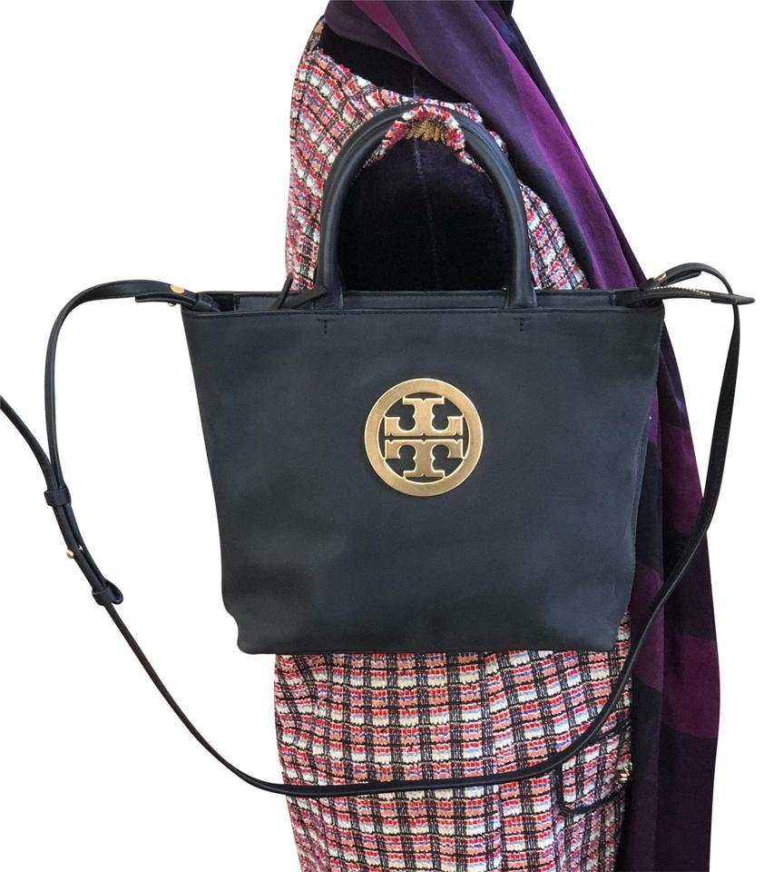 3730cf0224d Tory Burch Charlie Mini Gold Logo Black Nubuck Leather Satchel - Tradesy