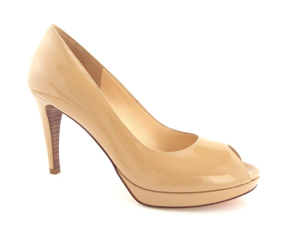 79f3c8452 Cole Haan Beige Patent Leather Nike Air Open Toe Platform Pumps Size ...