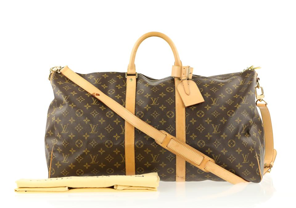 0e8296f38ee2 Louis Vuitton Keepall Bandoulière 55 Monogram Brown Coated Canvas Weekend Travel  Bag