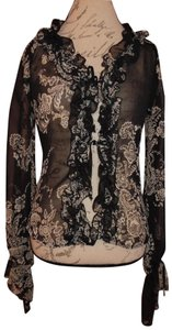 Necessary Objects Layering Floral Longsleeve Tied Front Top Black, White