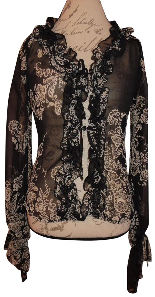 9896f56deae109 Necessary Objects Black White Sheer Floral-print Long-sleeved ...