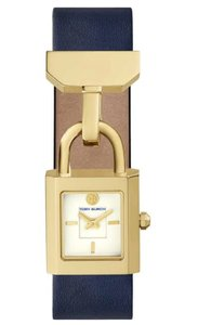 4b43148455a Tory Burch Navy Ivory Gold Surrey Leather Strap 22mm X 23.5mm Watch ...