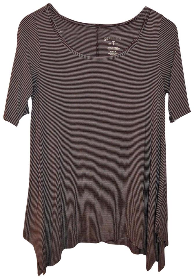 606d6ada American Eagle Outfitters Stretch Short-sleeved Stripes T Shirt Wine Red,  White Image 0 ...