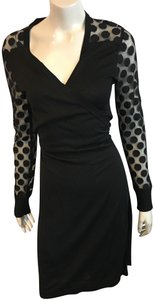 ac2ad6aa0f45 Diane von Furstenberg Black 46918 Wrap Long Sleeve Silk Mid-length Night  Out Dress Size 12 (L)