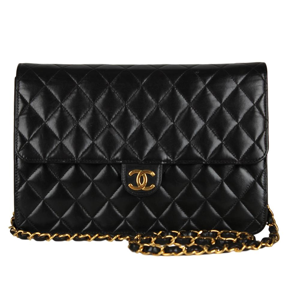 Chanel Classic Flap Quilted Matelasse Pushlock Cc Logo