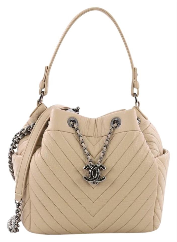 0c99a39e15 Chanel Drawstring Boyish Chevron Small Beige Sheepskin Leather ...