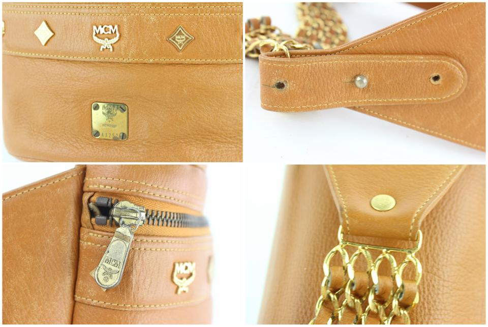 ae69e31483 MCM Waist Cognac Studded Chain Fanny Pack Belt Pouch 10mcz1812 Brown  Leather Cross Body Bag 41% off retail
