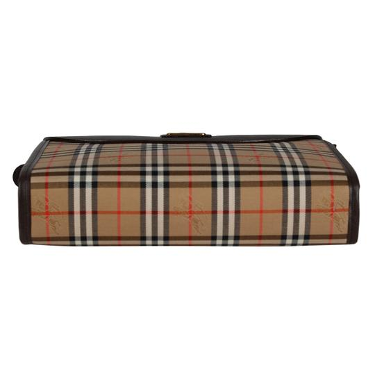Burberry Canvas Satchels Cosmetic Case Leather Brown Travel Bag