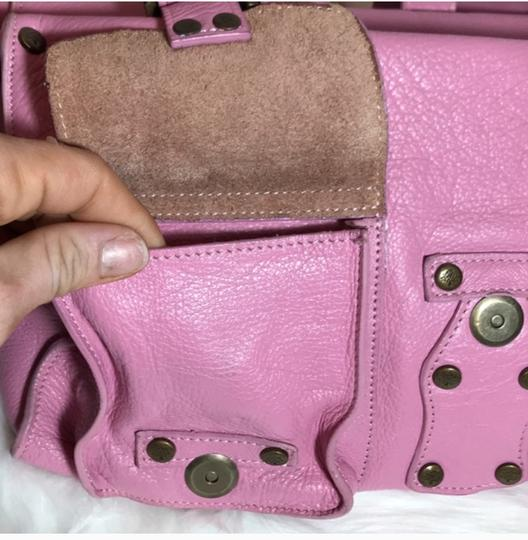 Mulberry Leather Rare Color High End Designer Satchel in Pink