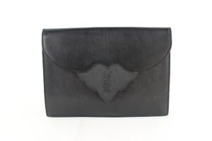 Saint Laurent Envelope Monogram Ysl Logo Black Clutch