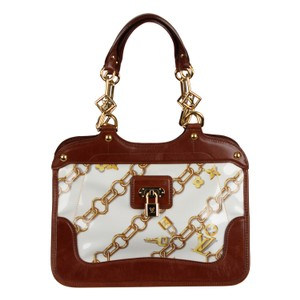 Louis Vuitton Limited Edition Cabas White Leather Gold Hardware Satchel in Brown