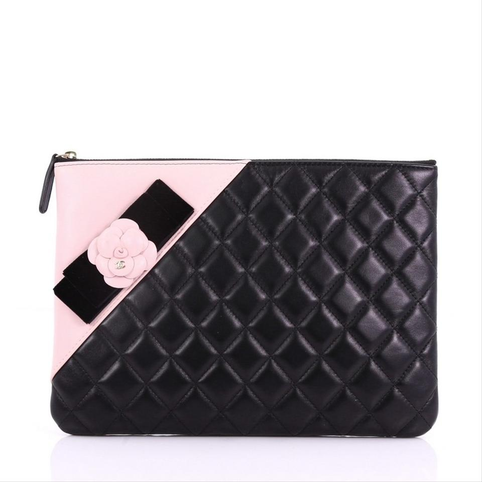 4b621d71efa047 Chanel Clutch Camellia O Case Quilted Medium Black and Pink Lambskin ...