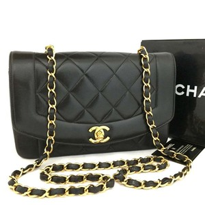 7aa4f54ddc73 Chanel Classic Flap Diana Very Nice Quilted Matelasse 22 Cc Logo 6921 Black  Lambskin Leather Cross Body Bag