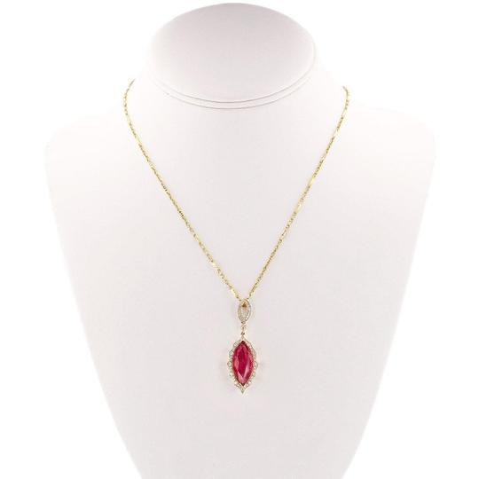 Yellow Gold 6.62ct Ruby and 0.51ctw Diamond 14kt Pendant/Necklace Necklace