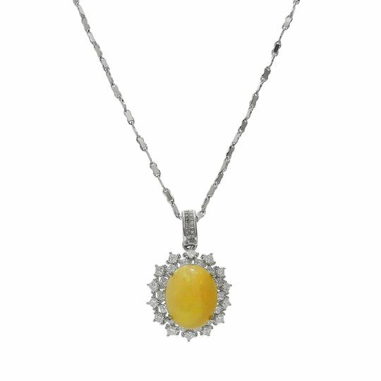 White Gold 3.05ct Crystal Opal and 1.38ctw Diamond 14kt Pendant/Neckla Necklace