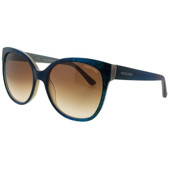 Guess By Marciano GM0727-92F-58 Cat Eye Women's Blue Frame Yellow Lens Sunglasses NWT