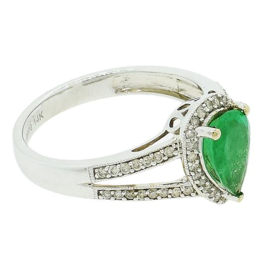 White Gold 0.97ct Emerald and 0.29ctw Diamond 14kt Ring