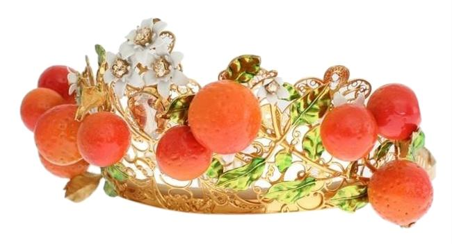 Item - Gold D10651 Women's Multicolor Brass Crystal Sicily Orange Tiara (One Size) Hair Accessory