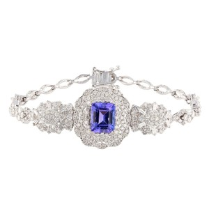 White Gold 3.56ct Tanzanite and 3.78ctw Diamond 18kt Bracelet