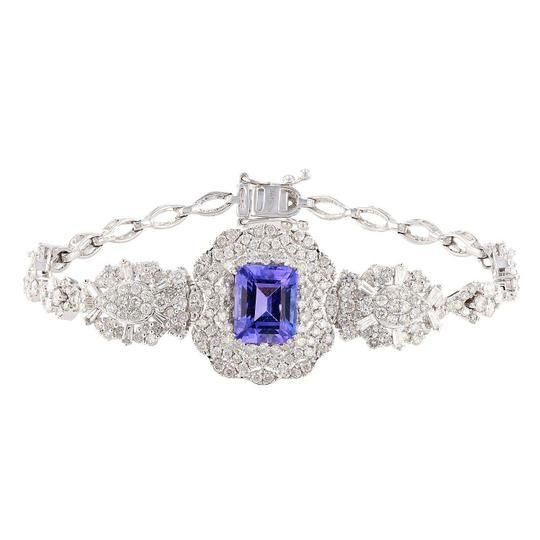 Preload https://img-static.tradesy.com/item/24546812/white-gold-356ct-tanzanite-and-378ctw-diamond-18kt-bracelet-0-0-540-540.jpg