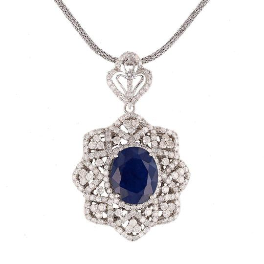 Preload https://img-static.tradesy.com/item/24546827/white-gold-1569ct-blue-sapphire-and-576ctw-diamond-14kt-pendantneck-necklace-0-0-540-540.jpg