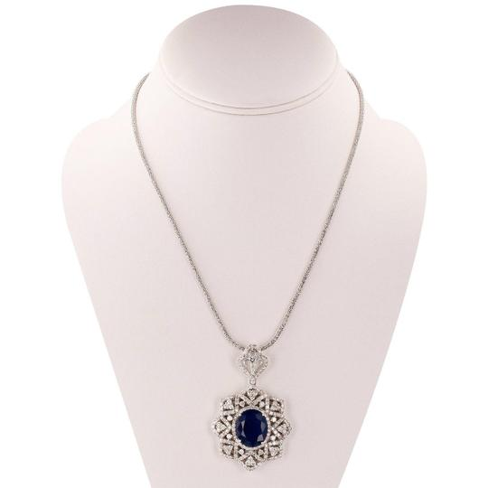 White Gold 15.69ct Blue Sapphire and 5.76ctw Diamond 14kt Pendant/Neck Necklace